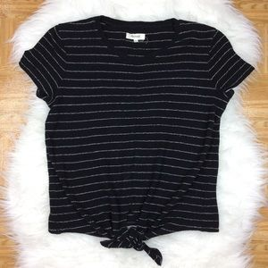 Madewell Modern Tie Front Striped Cropped Tee Top